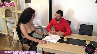 Curly hair german brunette fuck on table