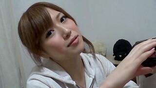 Naughty Japanese girl Miu Fujisawa takes a large dick in her mouth