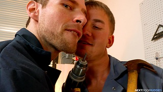Dick sucking and nuisance fucking in a difficulty garage between two gay dudes