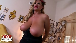 Big boobs porn star giving head with cum shot