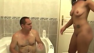 One legged amputee gets a bath and special services from his cute helper