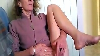 Granny rubs her shaved pussy while I jerk off